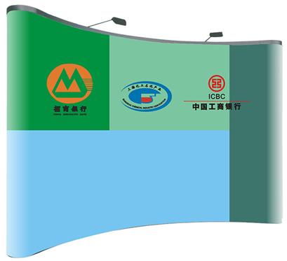 鹰牌展具展架搭建-招商银行、工商银行拉网展架案例