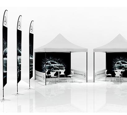 鹰牌展具展架设计奔驰汽车户外展架案例